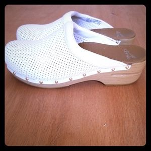 White Studded Dansko Clogs, size 11